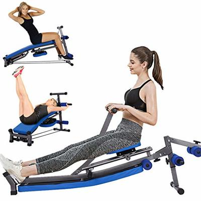 LNATOVI Foldable Hydraulic Rowing Machine,Beauty Waist Supine Board Sit Up Bench Push Ups Fitness Equipment Padded Seat for Home Use to Improve Heart Health (Blue)