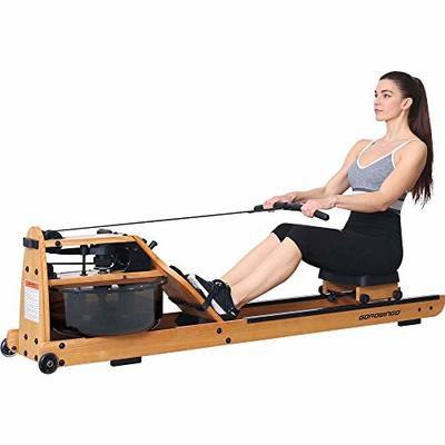 gorowingo Water Rowing Machine Rower,Wooden Indoor Row Machine with LCD Monitor for Home Cardio and Strength Exercise
