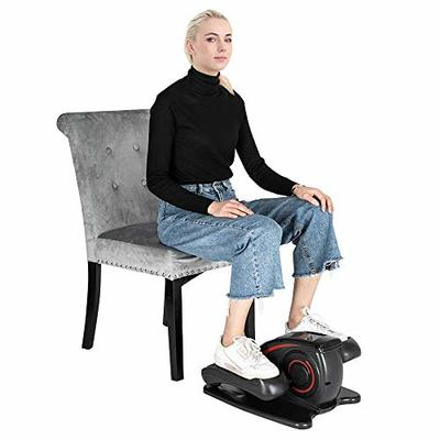 Amzeca Seated Under-Desk Elliptical – Women Men Adult Exercise Bike Mini Under Desk Cycle for Home Gym Office, Built-in Display Monitor, Quiet & Compact, Adjustable Resistance