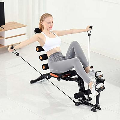 Abdominal Training Machine, Household Multifunctional Waist Strength Workout Machine Thighs Buttocks Rodeo Height Adjustable Sit-up Exerciser Home Ab Trainer (Black,Ship from US)