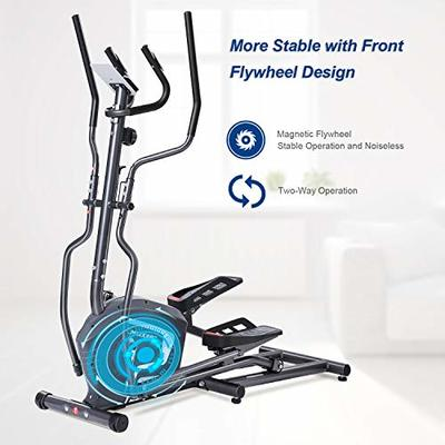 MaxKare Magnetic Elliptical Machine Elliptical Trainer Heavy Duty Smooth Quiet Driven? for Home Use with Front Flywheel/Display Panel/8-level Magnetic Resistance for Cardio Workout