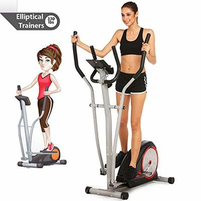 shaofu Elliptical Machine Elliptical Trainer Exercise Machine with LCD Monitor and Pulse Rate Grips, Magnetic Smooth Quiet Driven for Home Use (Black)