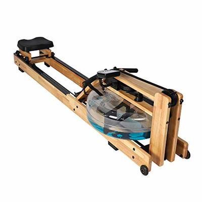 LUCKYERMORE Oak Wood Water Rowing Machine with Digital Monitor for Home 330 Lbs?Mobile?Space Saving, Adjustable, Double Track Indoor Rower Fitness