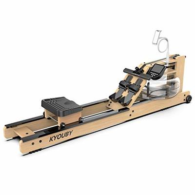KYOUBY Water Rowing Machine for Home Use,Oak Wood Water Resistance Rower with LCD Monitor