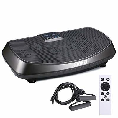 KUOKEL Vibration Plate Exercise Machine with Dual Motors, Remote Control and Resistance Bands, Whole Body Workout Fitness Platform for Home Fitness and Weight Loss (Black)