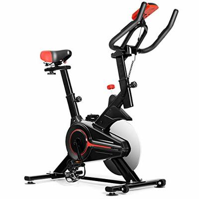GYMAX Indoor Cycling Bike, Stationary Exercise Bike with LCD Monitor, Heart Pulse Sensor & Comfortable Seat Cushion for Home Workout