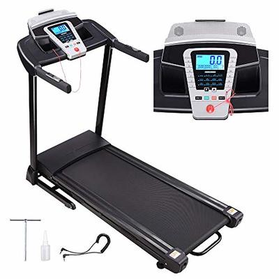 AW Folding Electric Treadmill Running Walking Treadmill with LCD Display Speaker with Silicone Fluid for Home Exercise