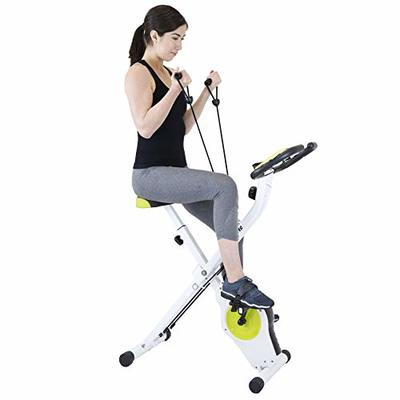 Xspec Indoor Foldable Stationary Upright Exercise Cardio Workout Cycling Bike with 16 Level Resistance & Arm Resistance Bands, Lime