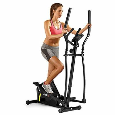 GYMAX Elliptical Machine, Magnetic Elliptical Machine with Digital Display, Heart Rate Grip & Easy Moving Wheels, Portable Cardio Workout Machine for Home Gym Office