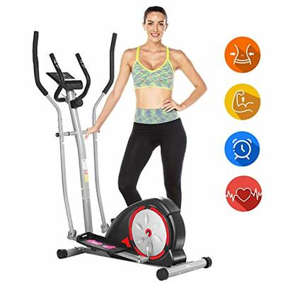ANCHEER Elliptical Machine, Elliptical Exercise Trainer with Pulse Rate Grips and LCD Monitor, Magnetic Smooth Quiet Driven for Home Using (Black)