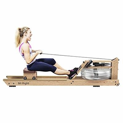 Mr.right Oak Water Rowing Machine for Home Use,Wood Water Rower with Customizable Bluetooth LCD Monitor (Rower Cover and Electric Water Pump Included)