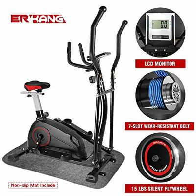 ER KANG Elliptical Machine Trainer – Adjustable 8 Levels Resistance and Seats, with Digital Monitor and Pulse Rate Grips Magnetic Smooth Quiet Driven Elliptical Exercise Machine for Home Use (Black)