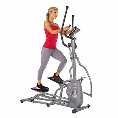 Sunny Health & Fitness Magnetic Elliptical Trainer Machine w/ Tablet Holder, LCD Monitor, 220 LB Max Weight and Pulse Monitor –SF-E3810,Gray
