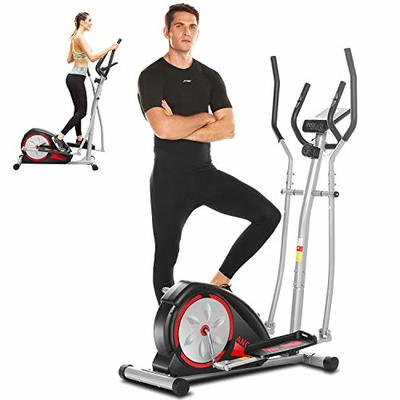 ANCHEER Elliptical Machine, Elliptical Trainer for Home Use with Pulse Rate Grips and LCD Monitor, Magnetic Smooth Quiet Driven (Black)