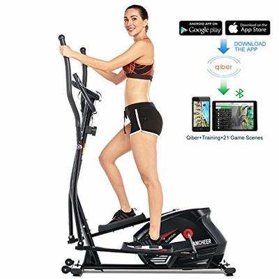 ANCHEER Elliptical Machine, Quiet & Smooth, Magnetic Elliptical Exercise Machine with Sports APP and LCD Digital Monitor, Best Elliptical Cross Machine for Home Use, 10 Levels Resistance (red)