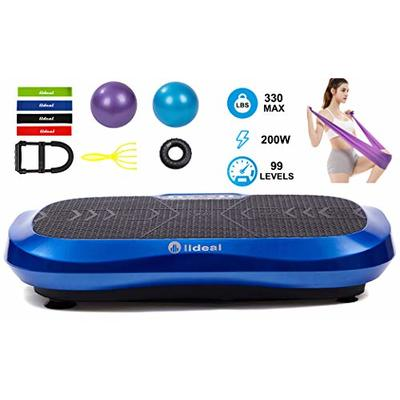lldeal Ultra Thin Third Generation Vibration Plate Exercise Machine -(Tensile Device, w/Loop Band, Two Yoga Ball, Muscle Massager) Vibrate Platform Equipment for Weight Loss &Fitness (Black&Blue)