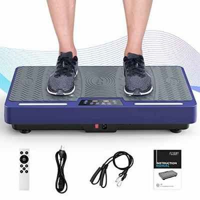 RINKMO Vibration Plate Exercise Machines with Resistance Bands, Whole Body Workout Vibrating Plateform with Bluetooth Speaker LED Light Bar for Home Fitness Training Equipment and Weight Loss Blue
