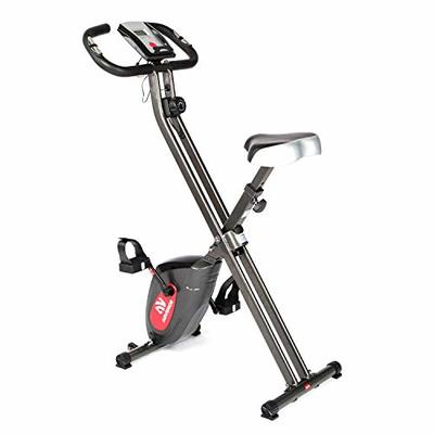 ADVENOR Exercise Bike Magnetic Bike Folding Fitness Bike Cycle Workout Home Gym With LCD Monitor Durable Upright Extra-Large Seat Cushion (black&red)