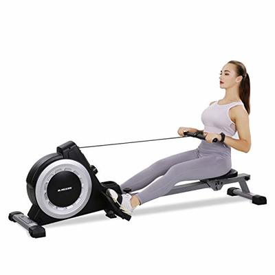 Magnetic Rower Rowing Machine with 16 Level Adjustable Resistance and LCD Monitor and Bottle Holder for Home Use