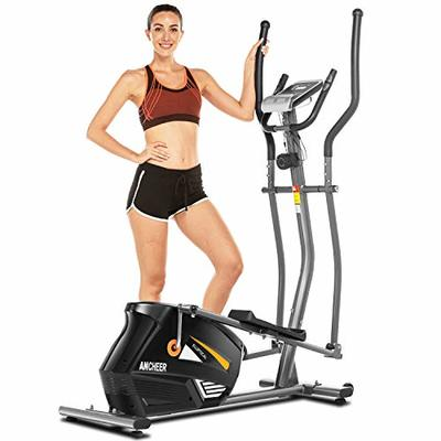 ANCHEER Magnetic Elliptical Exercise Machine, Quiet & Smooth, Compact Eliptical Cross Trainer Machine for Home Cardio Workout & Fitness with 10 Levels Resistance, Wheels (Gray)