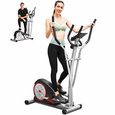 ANCHEER Elliptical Machine, Elliptical Trainer Machine with Pulse Rate Grips and LCD Monitor, Magnetic Smooth Quiet Driven for Home Using (Black)