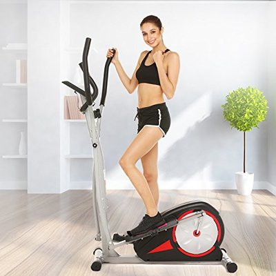 Fast88 Portable Elliptical Machine Fitness Workout Cardio Training Machine, Magnetic Control Mute Elliptical Trainer with LCD Monitor, Elliptical Machine Trainer (Black, 41.73 x 23.2 x 11.6 inch)