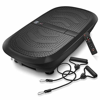 Axis-Plate Dual Motor Vibration Plate Exercise Machine with Resistance Bands – 3D Whole Body Fitness Platform – Black