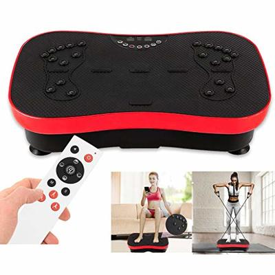 Vibration Plate Exercise Machine – Whole Body Workout Vibration Fitness Platform w/Loop Bands – Home Training Equipment for Weight Loss & Toning (Red)