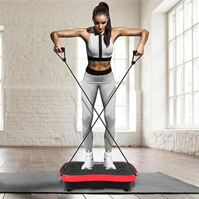 Lanyun Vibration Plate Exercise Machine, Family Body Shaping Machine-Mini Vibration Plate Whole Body Workout Vibration Fitness Platform Training Equipment Weight Loss Massager Wtih 2 Resistance Band