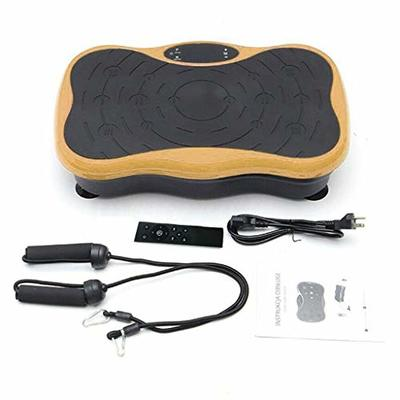 Dayyet Body Vibration Machine Plate Platform Massager Music Fitness with Loop Resistance Bands,Whole Body Workout Fitness Platform for Home Training and Shaping (Gold, 20.9″ x12.2″ x5.1″)