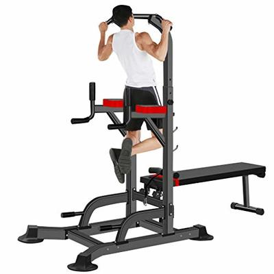 Adjustable Power Tower, Workout Dip Station with Dumbbell Bench, Multi-Function Home Gym Pull Up Bar Strength Training Workout Home Gym Fitness Equipment (US Direct, Black)