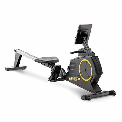 CIRCUIT FITNESS Circuit Fitness Deluxe Foldable Magnetic Rowing Machine with 8 Resistance Setting and Transport Wheels – Yellow/Bluetooth