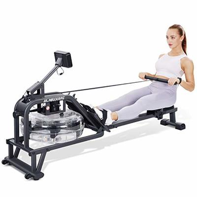 MaxKare Water Rowing Machine Water Rower Foldable Row Machine with Water Resistance Functional Display Panel Exercise Equipment for Home Use