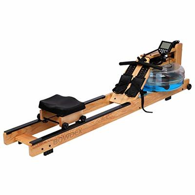 BOWDEX Natural Ash Wood Rowing Machine for Home Use, Water Rower with LCD Monitor