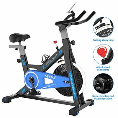 cycool Stationary Bike Exercise Bike Belt Drive Indoor Cycling Bike with Phone Stand,LCD Monitor,Comfortable Seat Cushion (cycoolC1-2)