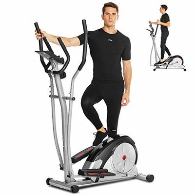 ANCHEER Elliptical Machine, Portable Magnetic Ellptical Exercise Machine with LCD Display & Handle Tracking Heartbeat, Multi-Grip Handlebars for Home Gym (Silver)