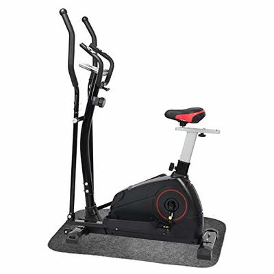 ER KANG Elliptical Machine Trainer Adjustable 8 Levels Resistance and Seats, with Digital Monitor and Pulse Rate Grips Magnetic Smooth Quiet Driven Elliptical Exercise Machine for Home Use (Black)