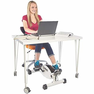 FitDesk Under Desk Cycle – Stationary Pedal Exerciser with Smooth Magnetic Resistance – Portable Mini Exercise Bike for Quiet Home or Office Use – White