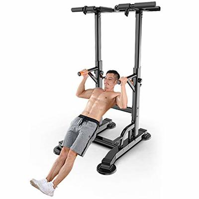 Power Tower Dip Station, Multifunctional Adjustable Pull Up Bar Strength Training Exercise Fitness Station Workout Equipment for Home Gym (US Direct, Black)