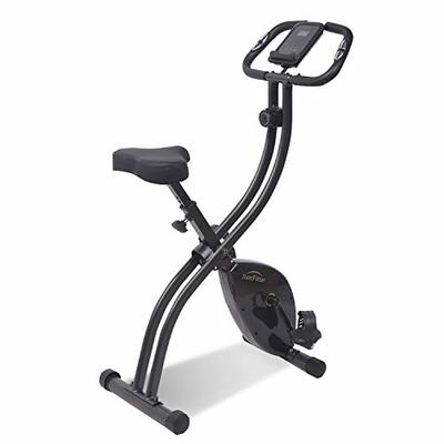 SunFitter Folding Exercise Bike Fitness Indoor Cycling Bike Upright Stationary Bike Slim Cycle Trainer Home Use for Women Men (Monitor Upgraded)