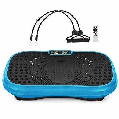 MUCHOO Vibration Plate Fitness Machine Whole Body Workout Platform Machine w/Loop Bands Body Slimmer Weight Loss and Home Training & Exercise Blue