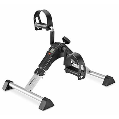 Under Desk Bike Pedal Exerciser, Foldable Mini Exercise Bike Equipment with Electronic Display for Legs and Arms Workout (Silver)