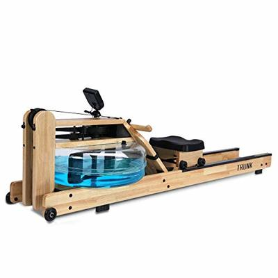 TRUNK Water Rowing Machine for Home Gym Fitness, Classic Oak Water Rower with LCD Monitor Whole Body Exercise Cardio Training
