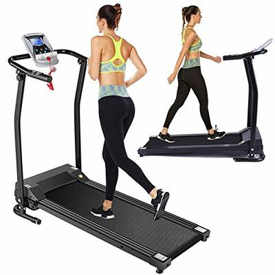 Folding Treadmill Electric Treadmills for Home with LCD Monitor,Pulse Grip and Safe Key Running Walking Jogging Exercise Fitness Machine for Home Gym Office Space Saver Easy Assembly (Black)