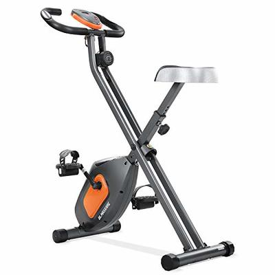 MaxKare Exercise Bike Stationary Folding Magnetic Exercise Bike Machine Magnetic with Adjustable Resistance Pulse LCD Monitor Extra-Large Seat Cushion for Home Indoor Woman Man