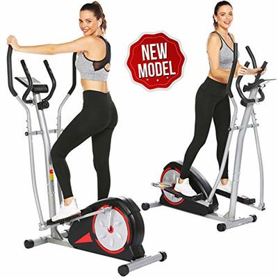 Elliptical Machine Magnetic Elliptical Training Machines with LCD Monitor Smooth Quiet Driven Pulse Rate Grips Elliptical Exercise Machine for Home Gym Office Workout (Black)