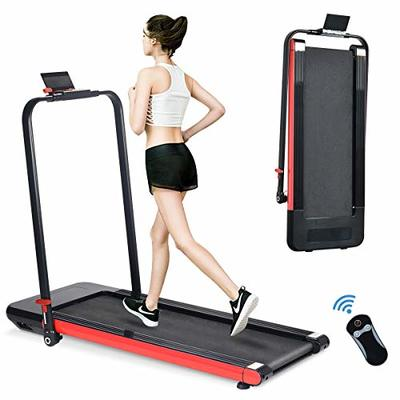 BiFanuo 2 in 1 Folding Treadmill, Smart Walking Running Machine with Bluetooth Audio Speakers, Installation-Free?Under Desk Treadmill for Home/Office Gym Cardio Fitness?Red?