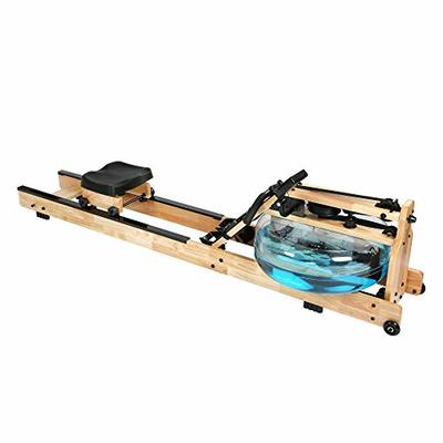 LUCKYERMORE Oak Wood Water Rowing Machine with Digital Monitor for Home 330 Lbs, Mobile, Space Saving, Adjustable, Double Track Indoor Rower Fitness