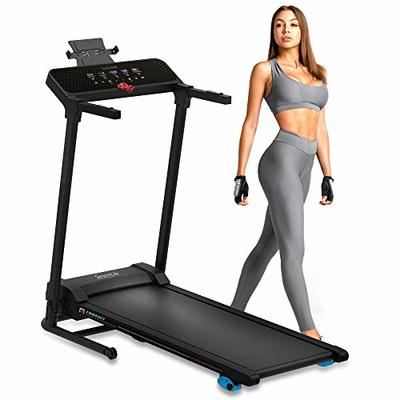 SereneLife Smart Digital Folding Treadmill – Electric Foldable Exercise Fitness Machine, Large Running Surface, 3 Incline Settings, 12 Preset Program, Sports App for Running & Walking (SLFTRD30)