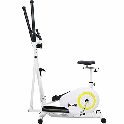 Doufit Elliptical Machine with Seat, EM-02 Portable Elliptical Trainer for Aerobic Exercise, Cardio Fitness Equipment with LCD Monitor and Adjustable Magnetic Resistance